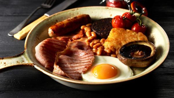 Full english breakfast in a frying pan