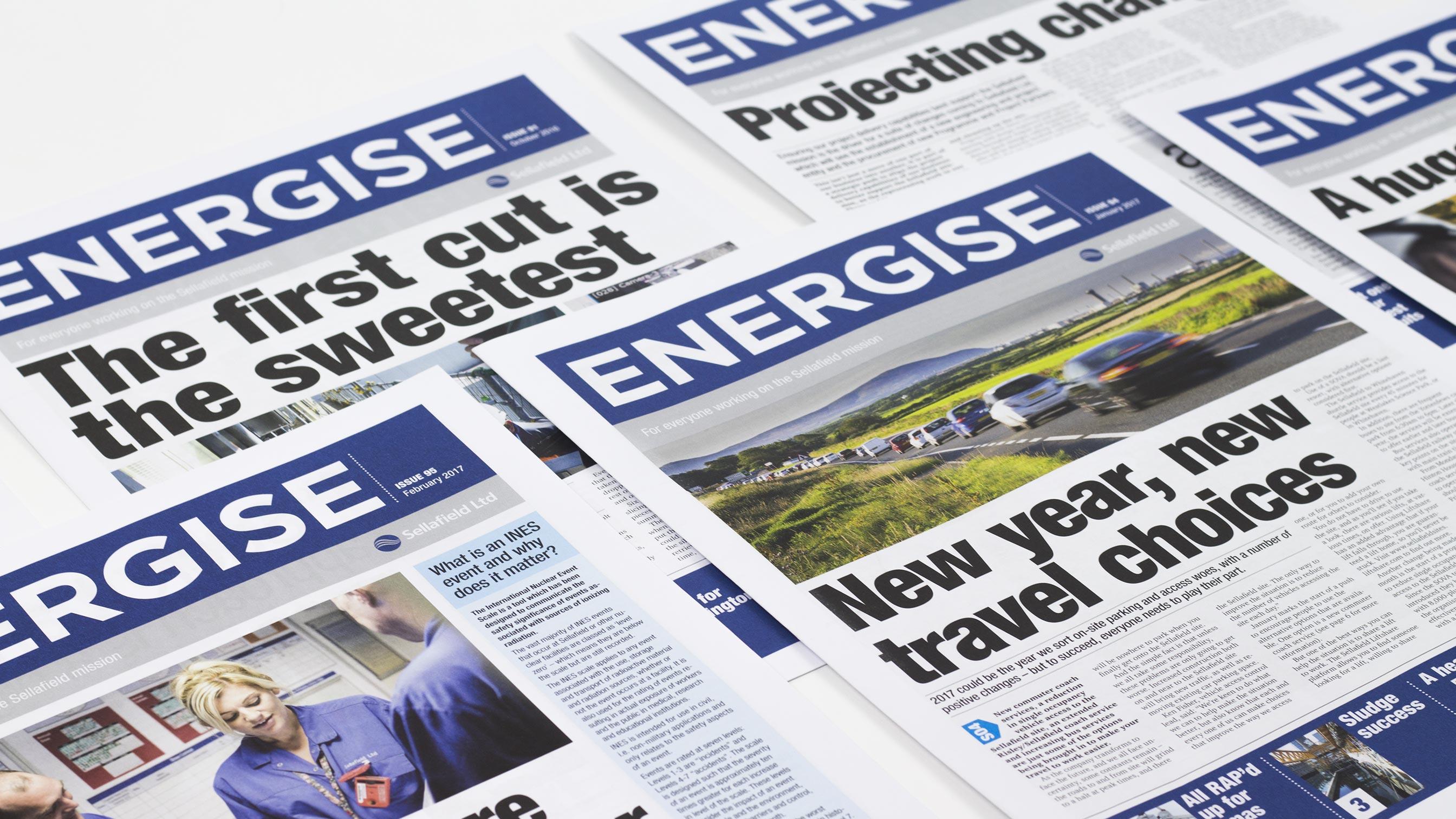 Sellafield Ltd Energise newspaper covers